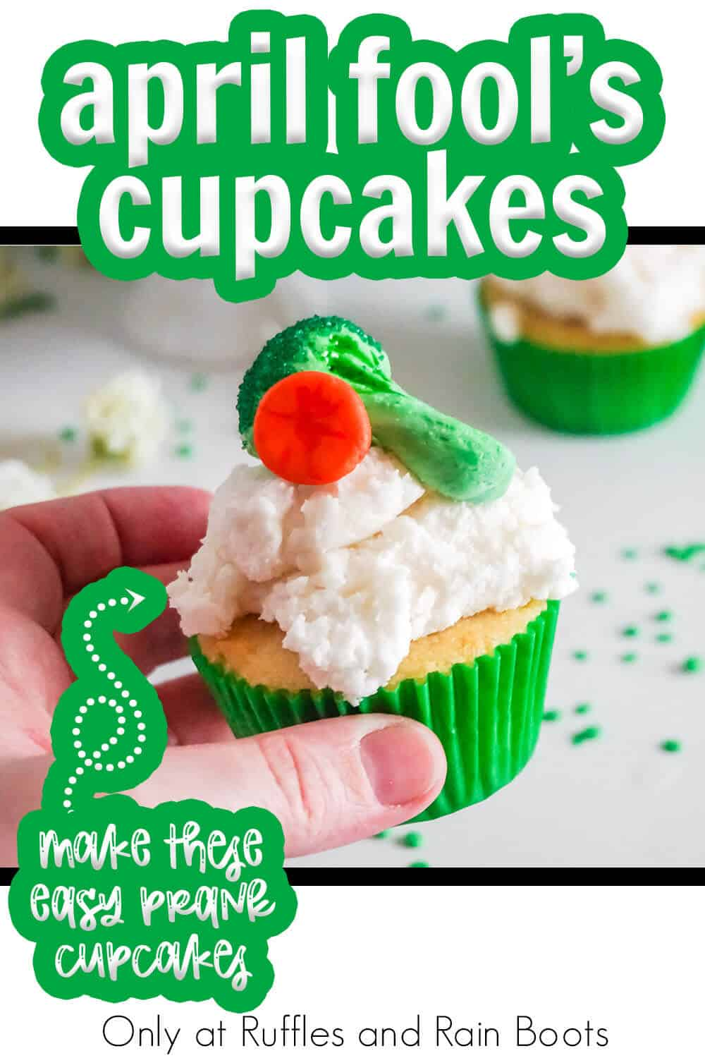 funny prank cupcake decorating idea with text which reads april fool's cupcakes make these easy prank cupcakes