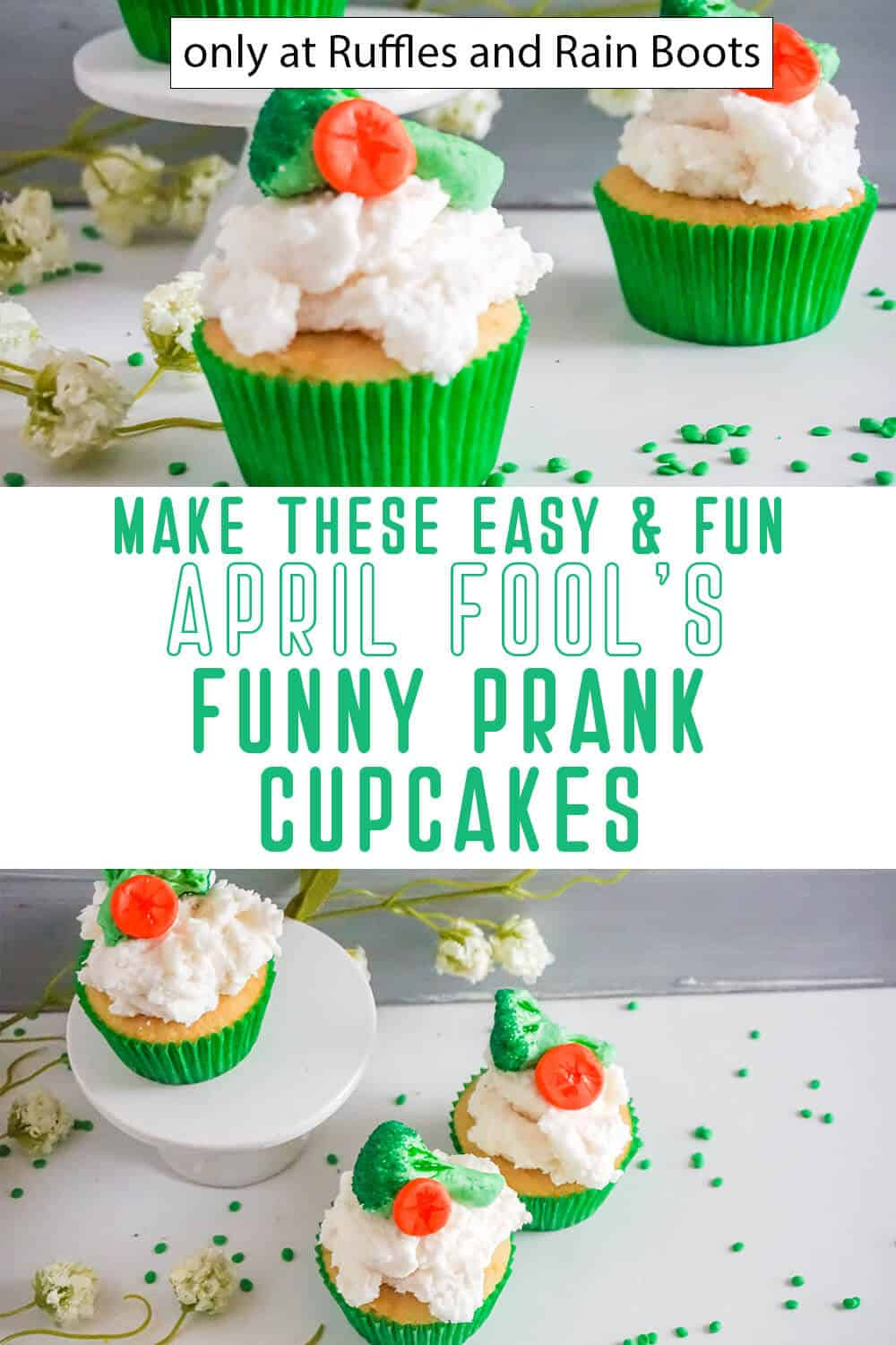 photo collage of april fool's cupcakes decorating idea with text which reads make these easy & fun april fool's funny prank cupcakes