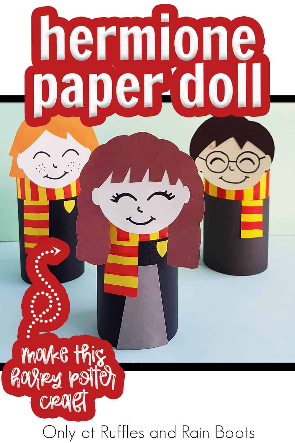 wizard paper craft hermione paper doll with text which reads hermione paper doll make this harry potter craft