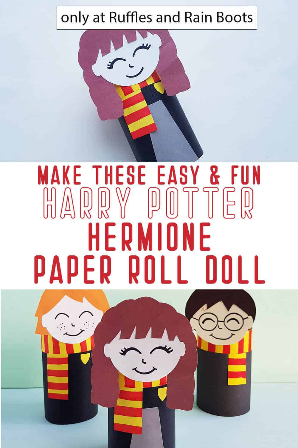 photo collage of harry potter book hermione paper doll from a paper roll with text which reads make these easy & fun harry potter hermione paper roll doll