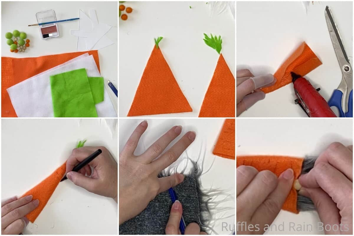 photo collage tutorial of how to make an easter gnome garland