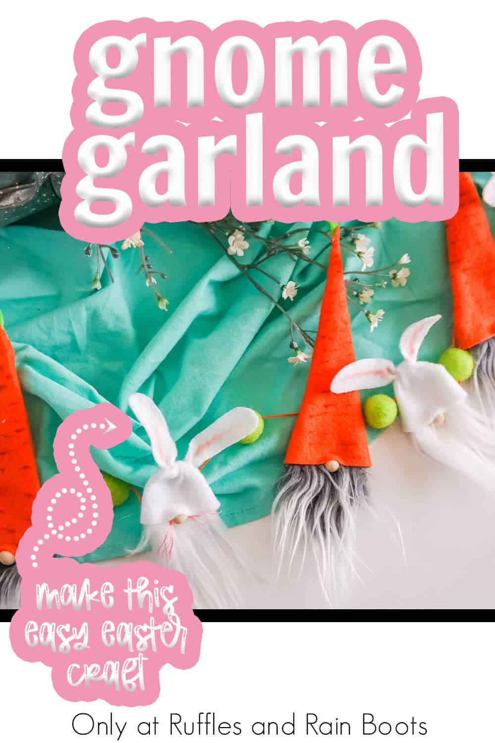 gnome pattern to make an easter farmhouse garland with text which reads gnome garland make this easy easter craft