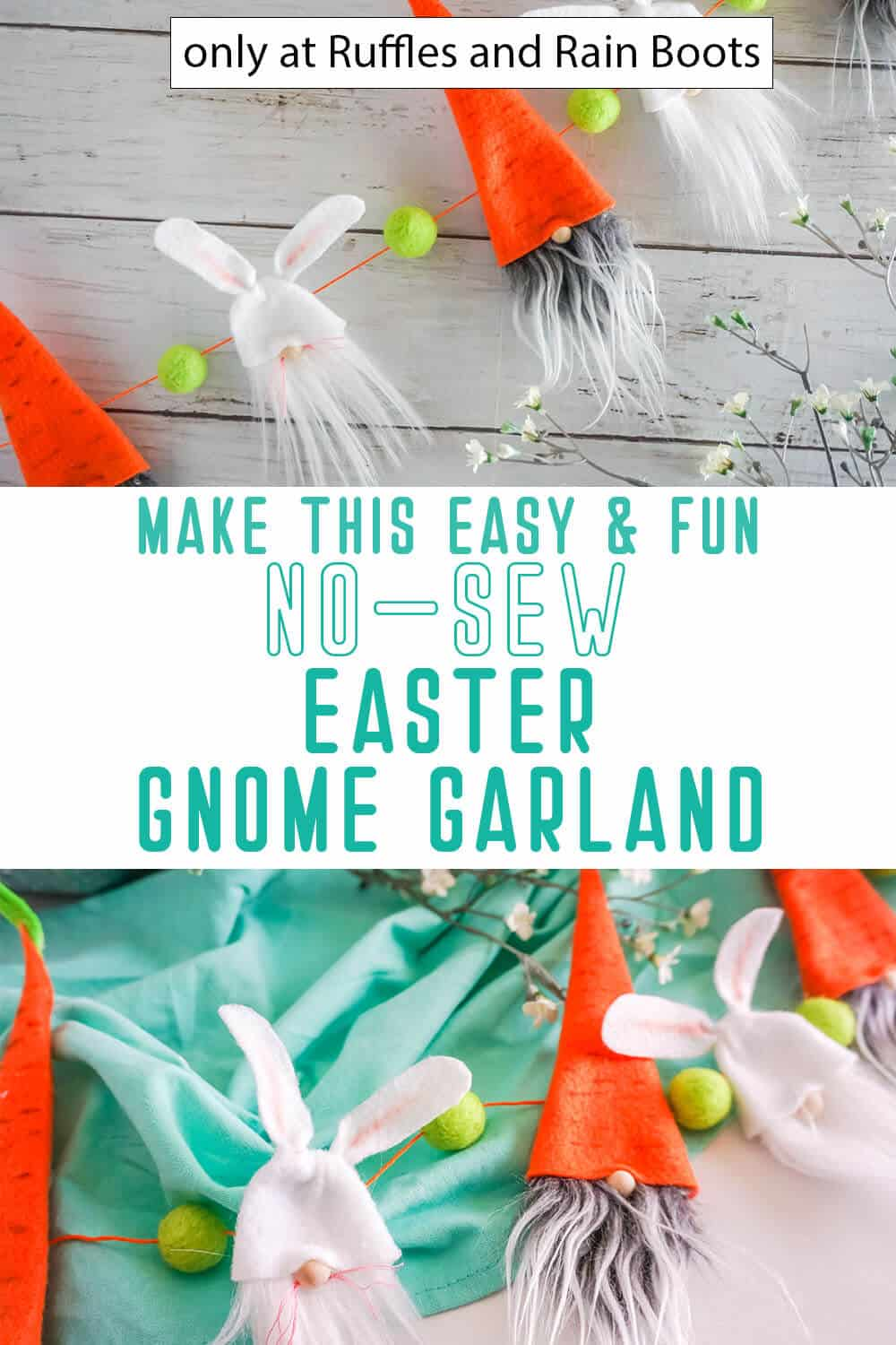 photo collage of diy easter gnome pattern garland with text which reads make this easy & fun no-sew easter gnome garland