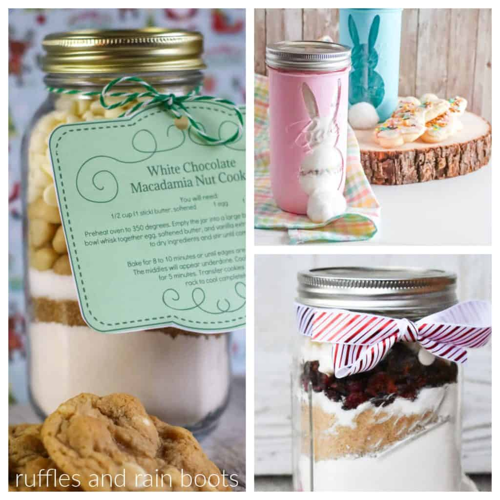 square collage of mason jar cookie mix recipes and printable tags