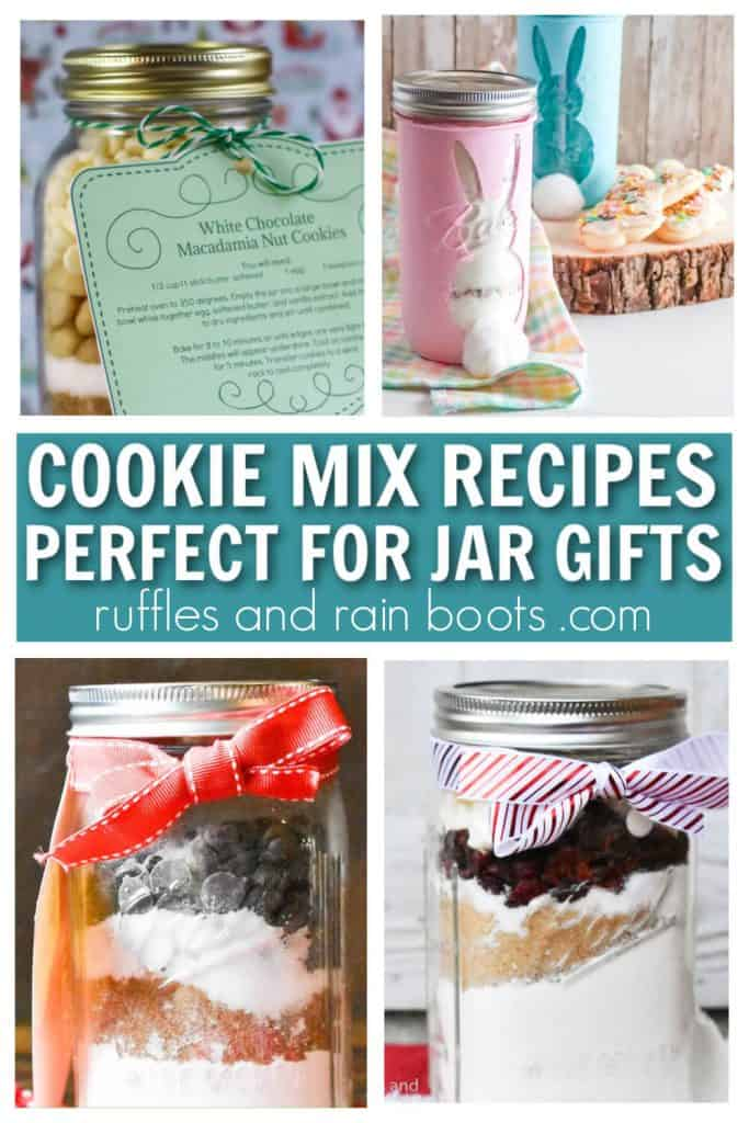vertical collage of cookie mix recipes in a jar used for gifting