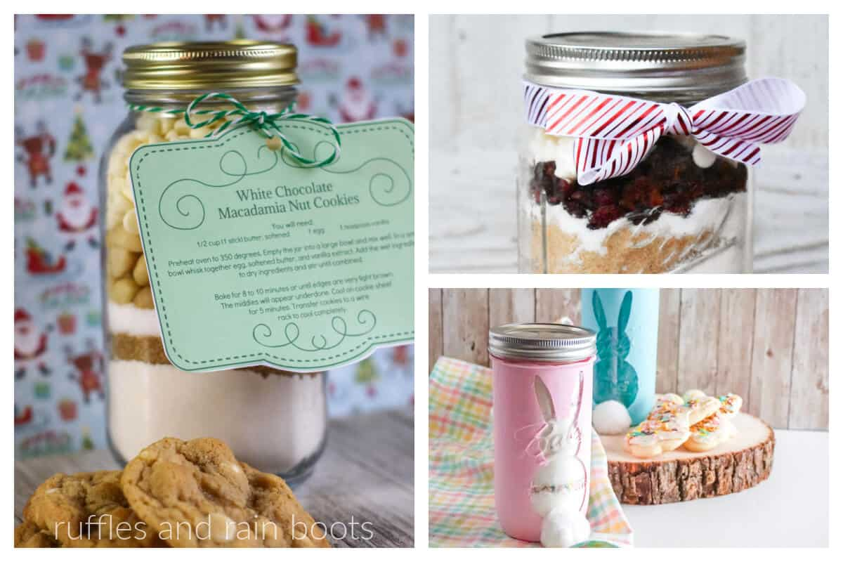 horizontal collage of easter cookie mix Christmas cookie mix and white chocolate cookie mix in mason jars