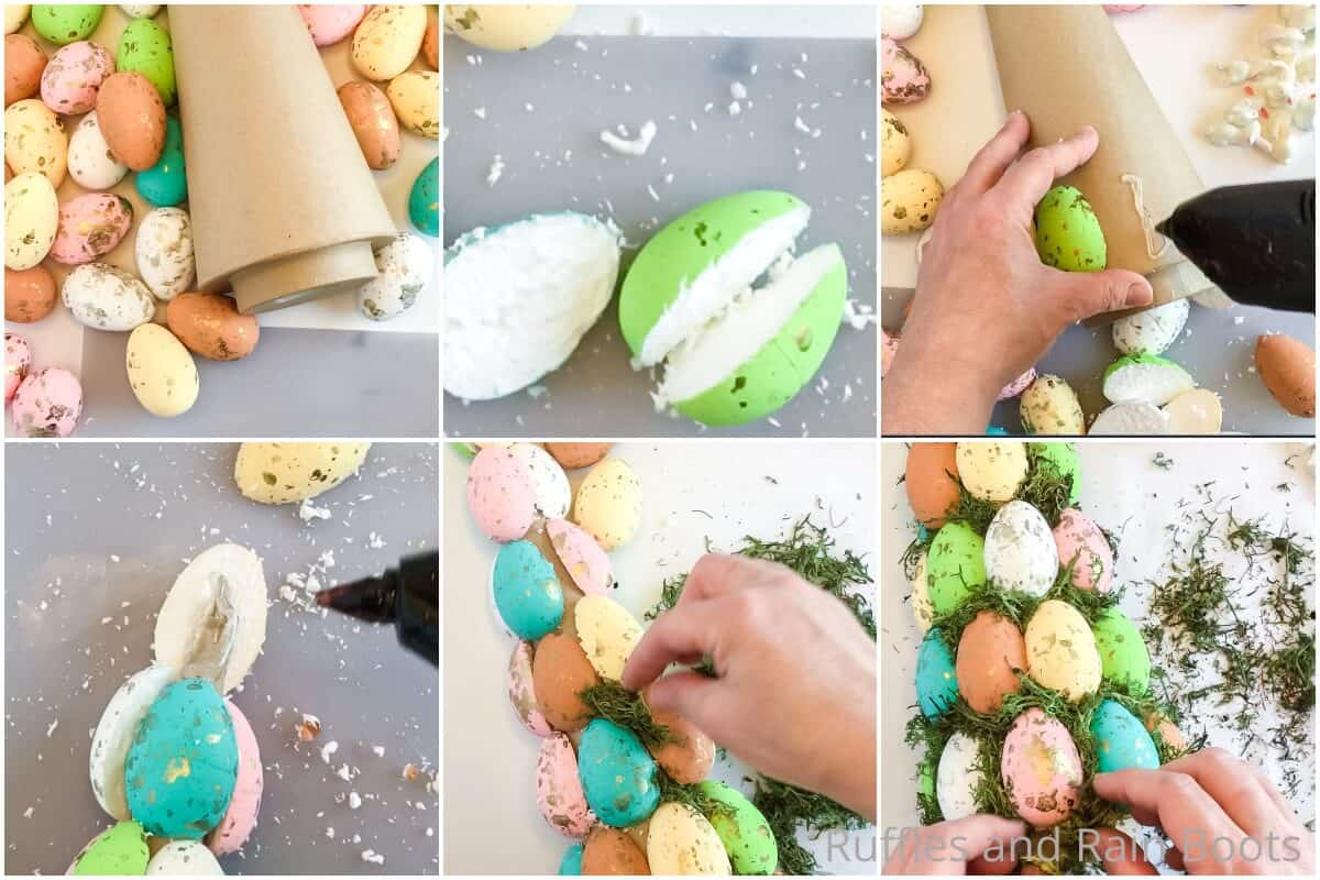 photo collage tutorial of how to make an easter tree for easter farmhouse decor