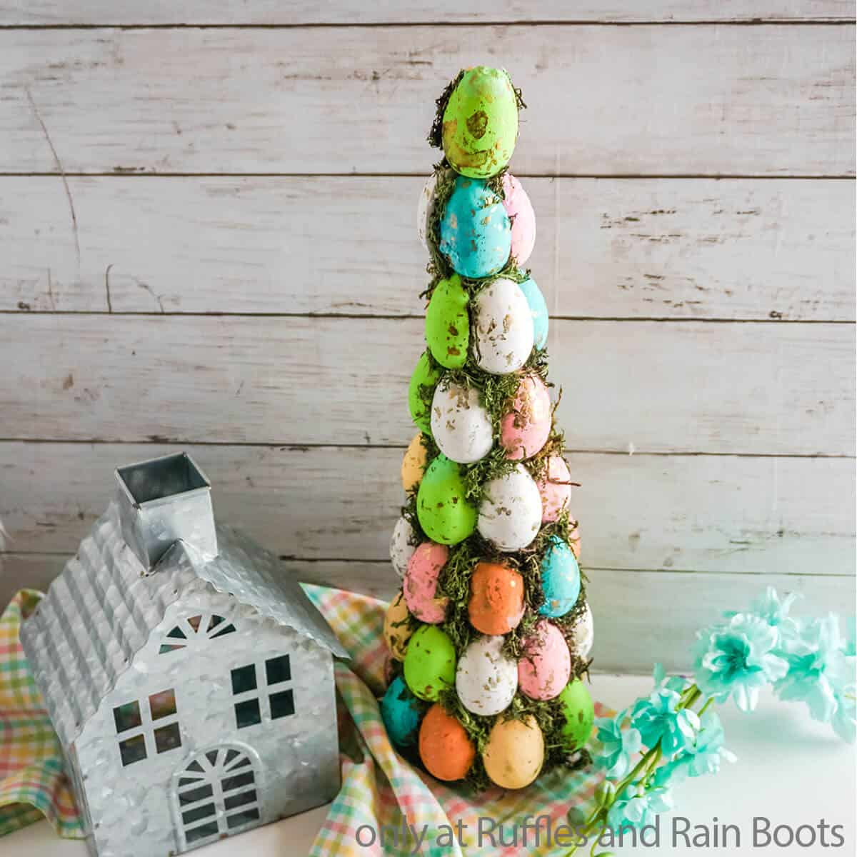 farmhouse easter egg tree with moss and foam eggs