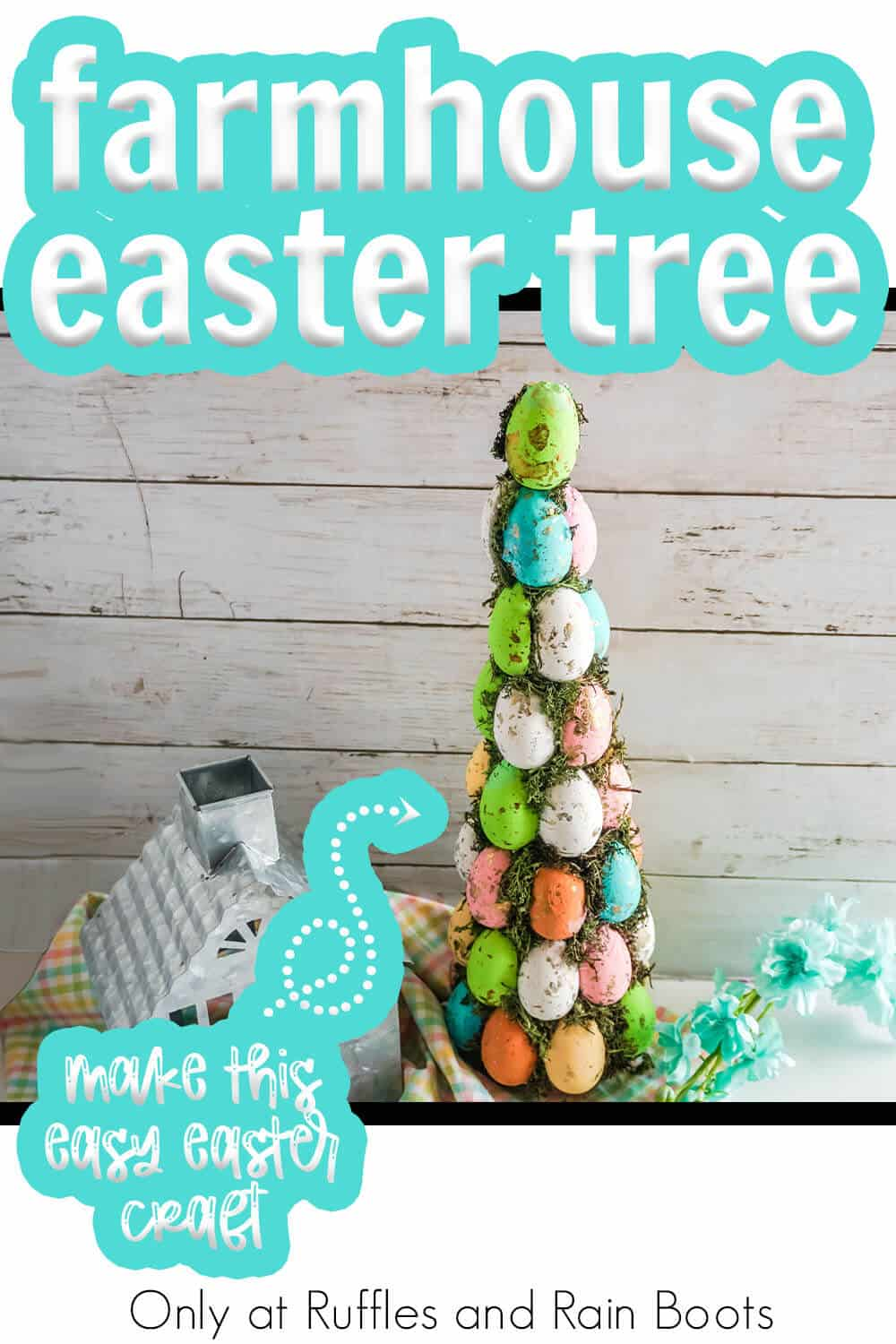 easter egg tree for easter decor with text which reads farmhouse easter tree make this fun easter craft