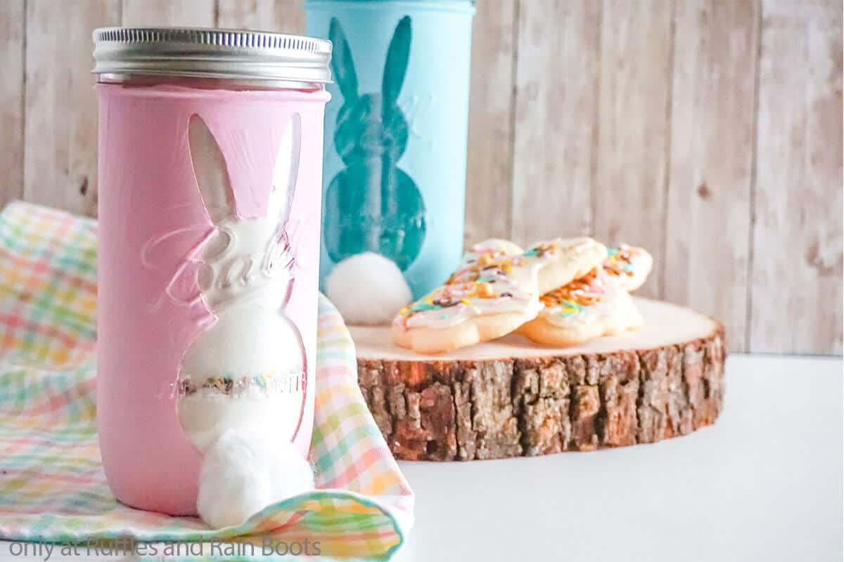 easter gift in a jar sugar cookie mix with easter sprinkles