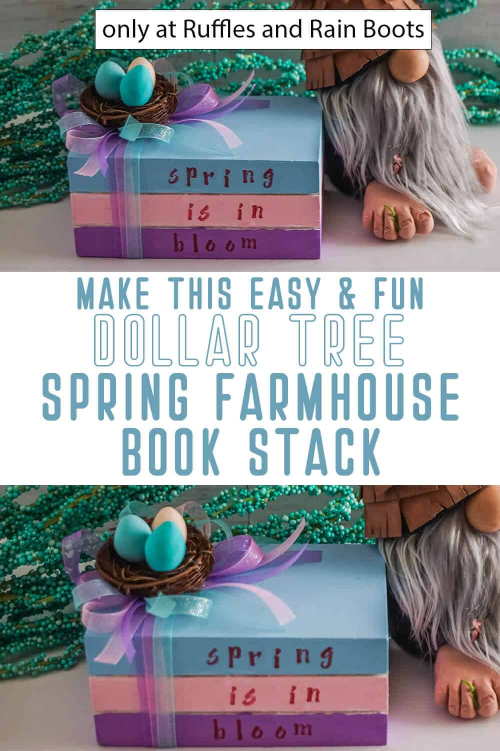 photo collage of spring farmhouse book stack dollar tree craft with text which reads make this easy & fun dollar tree spring farmhouse book stack