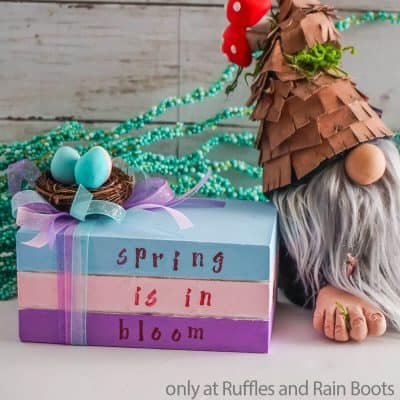 Make This Cute DIY Spring Book Stack from a Dollar Tree Wood Crate!