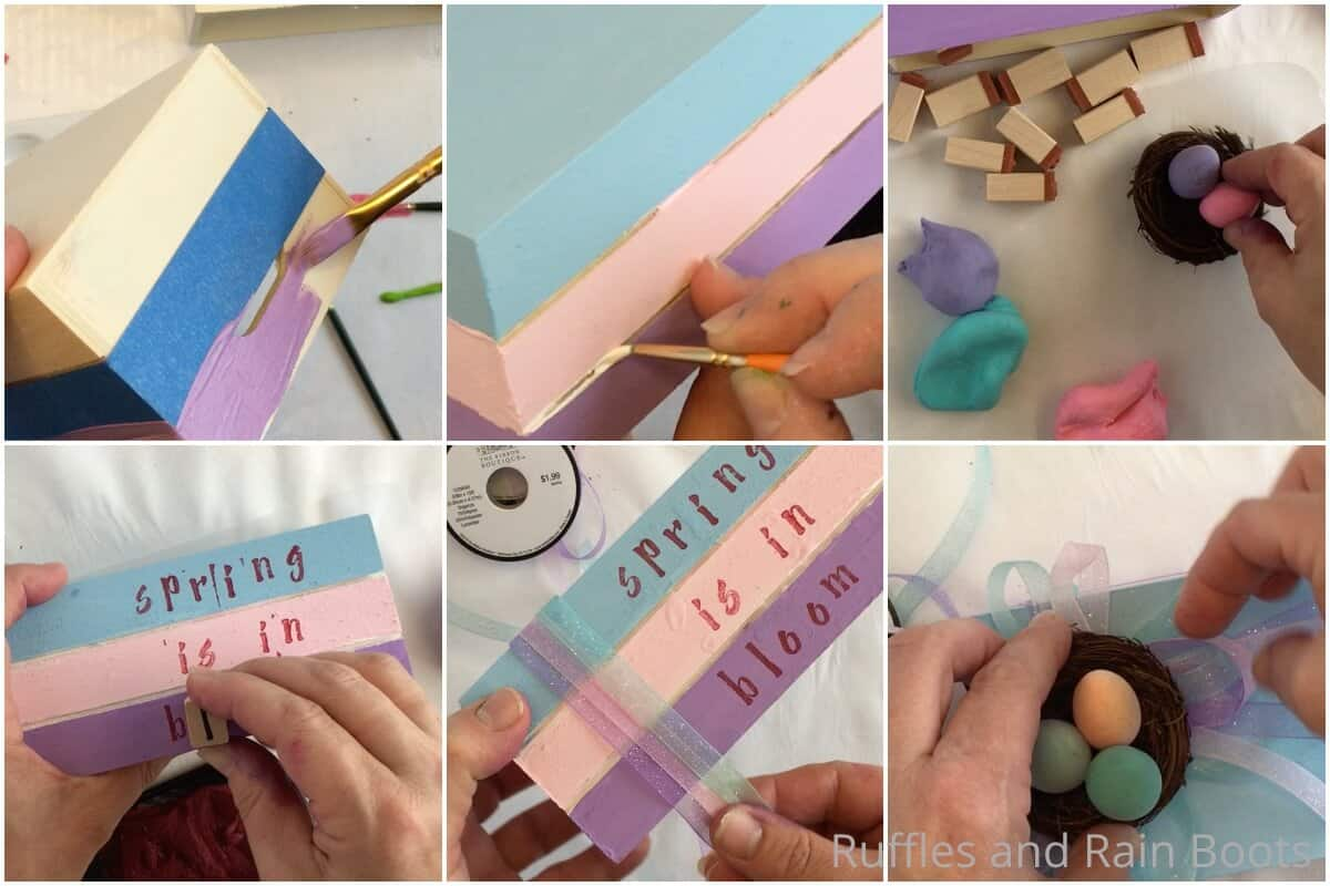 photo collage tutorial of how to make a spring book stack from Dollar Tree wood crates