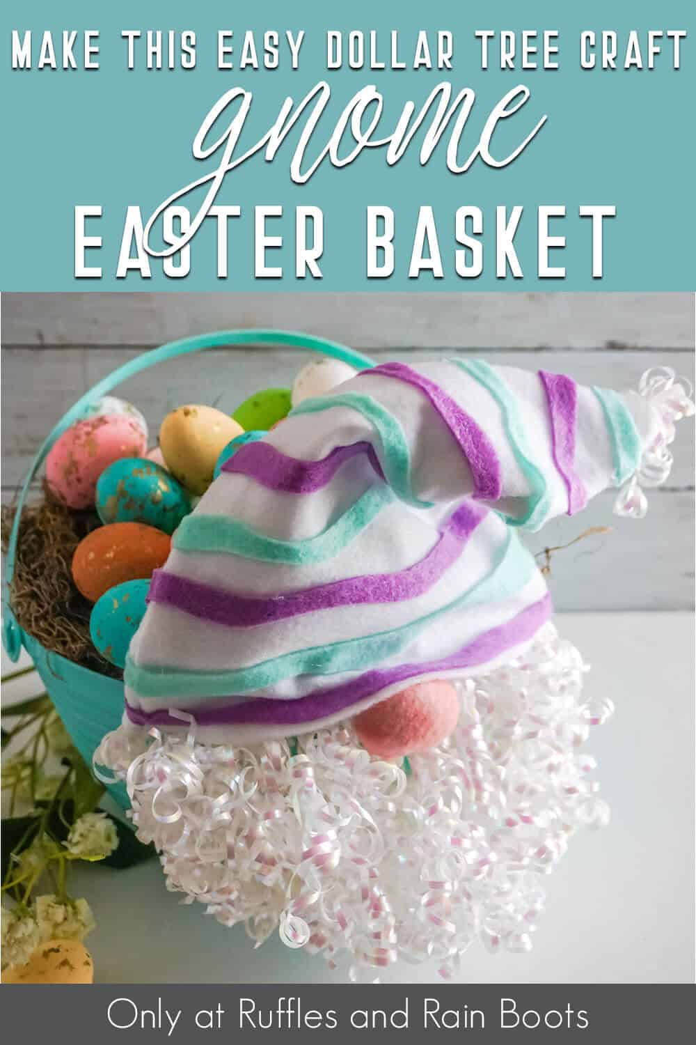 easter gnome basket dollar tree craft with text which reads make this easy dollar tree craft gnome easter basket