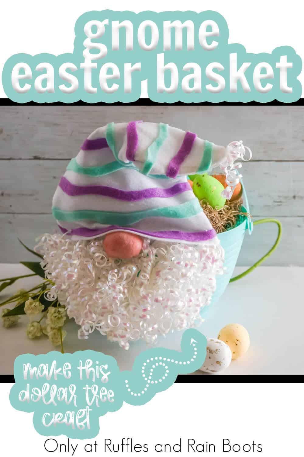 easter egg basket gnome DIY craft with text which reads gnome easter basket make this dollar tree craft