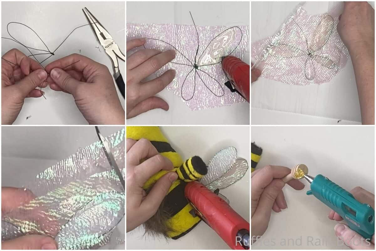 photo collage tutorial of how to make a bee wings for a gnome pattern