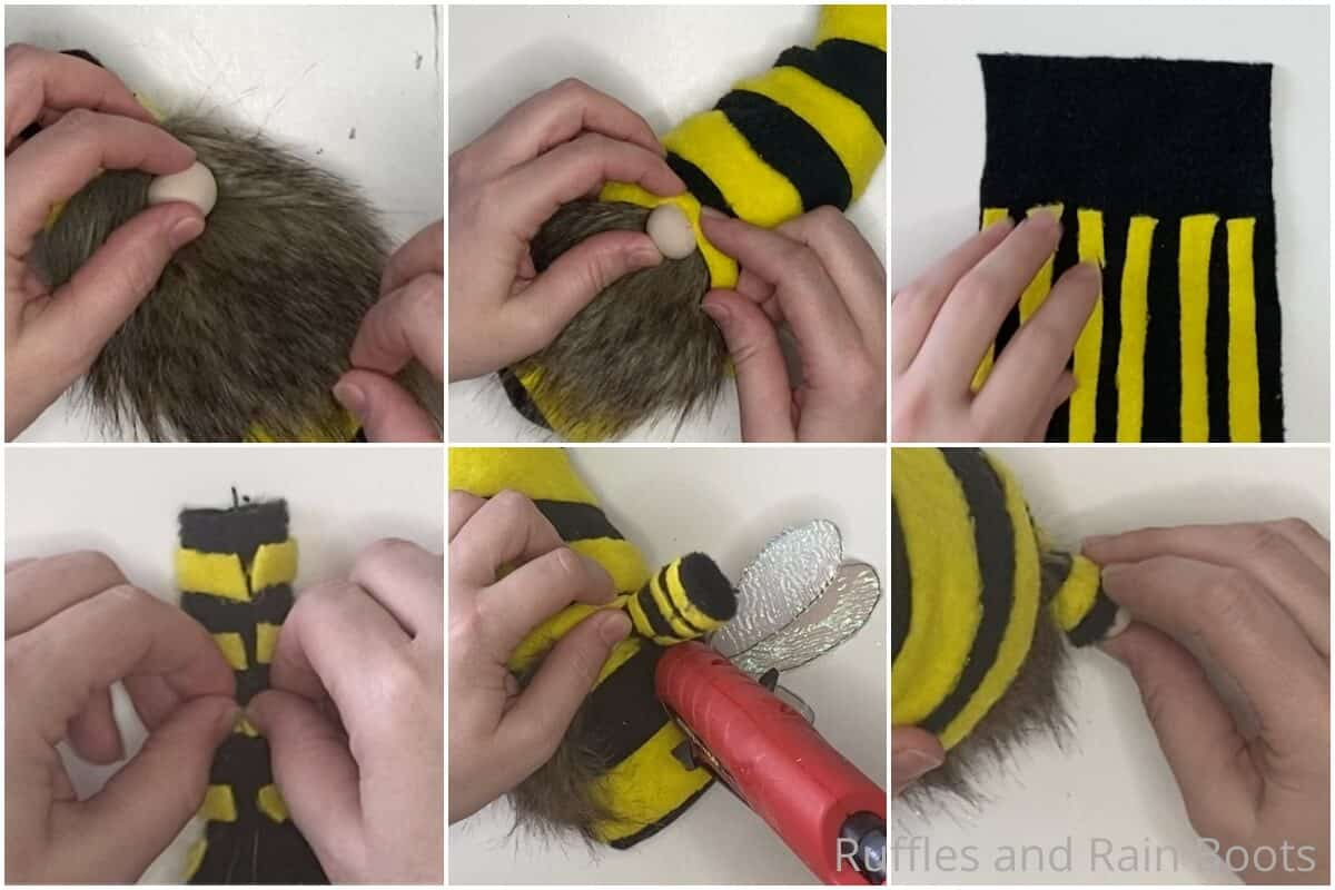 photo collage tutorial of how to make a bee no-sew gnome pattern