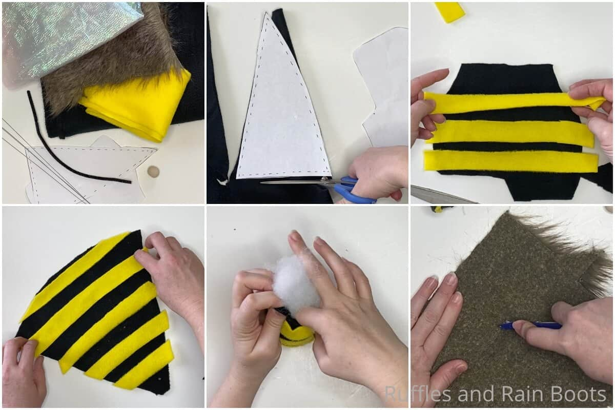 photo collage tutorial of how to make a bee gnome