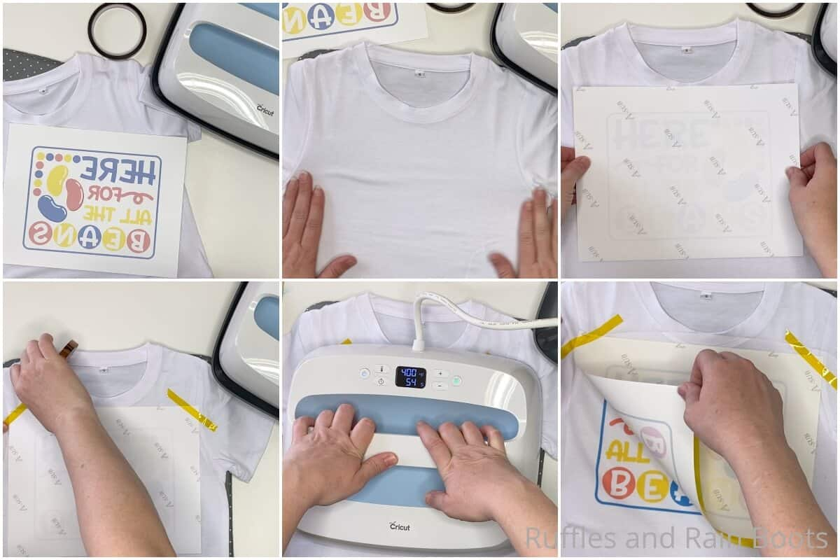 photo collage tutorial of how to make a sublimation kids shirt for easter