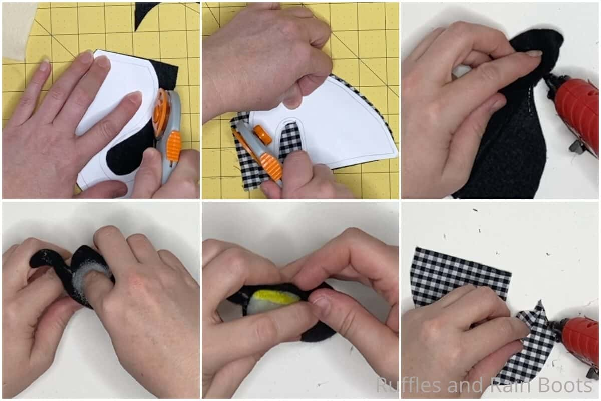 photo collage tutorial of how to make a farmhouse gnome pattern