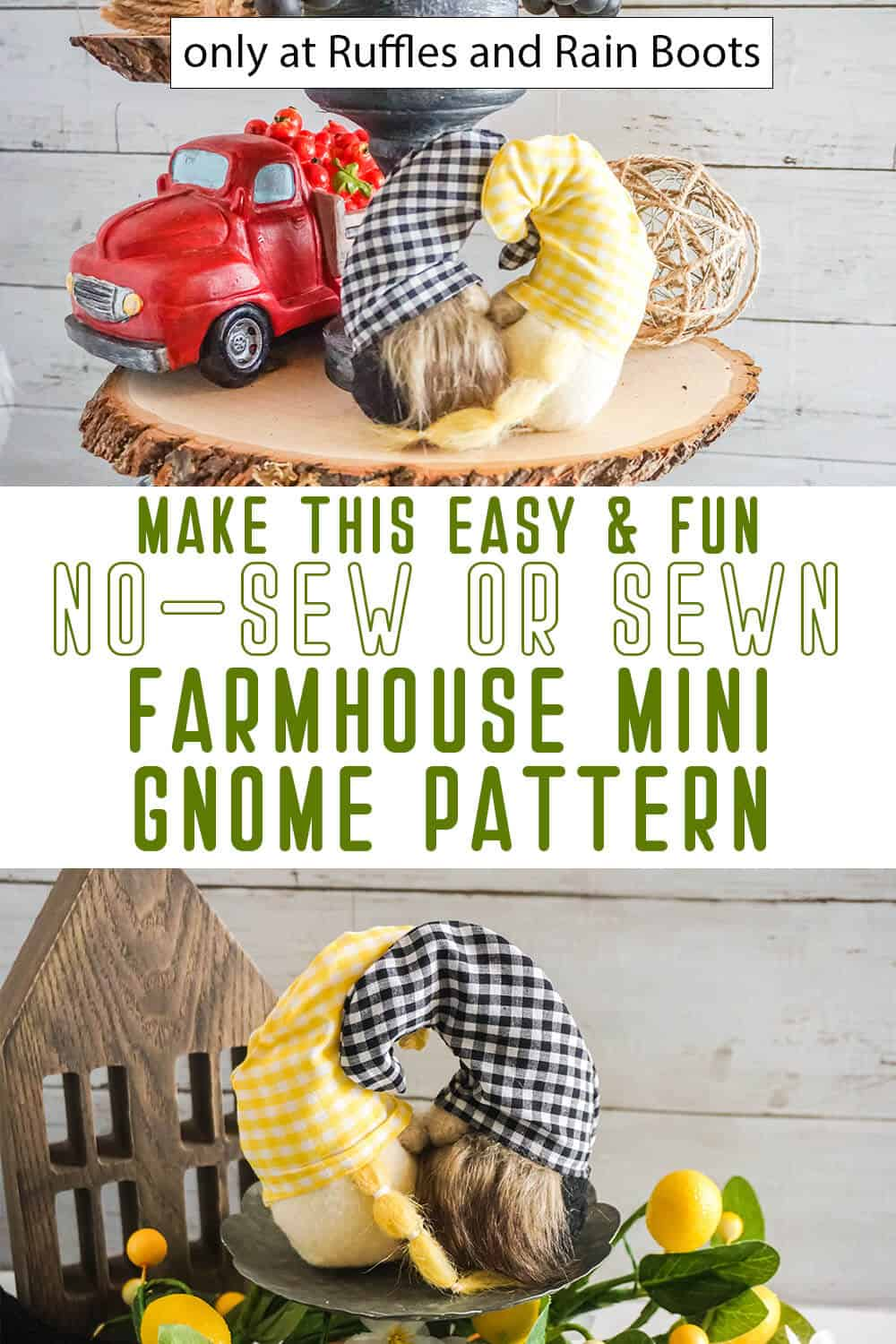 photo collage of farmhouse mini gnome pattern sewn or no-sew with text which reads make this easy & fun no-sew or sewn farmhouse mini gnome pattern