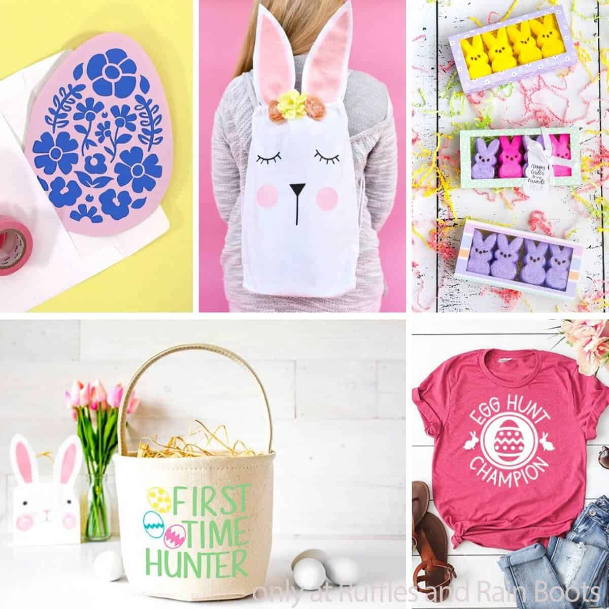 photo collage of easter cricut crafts
