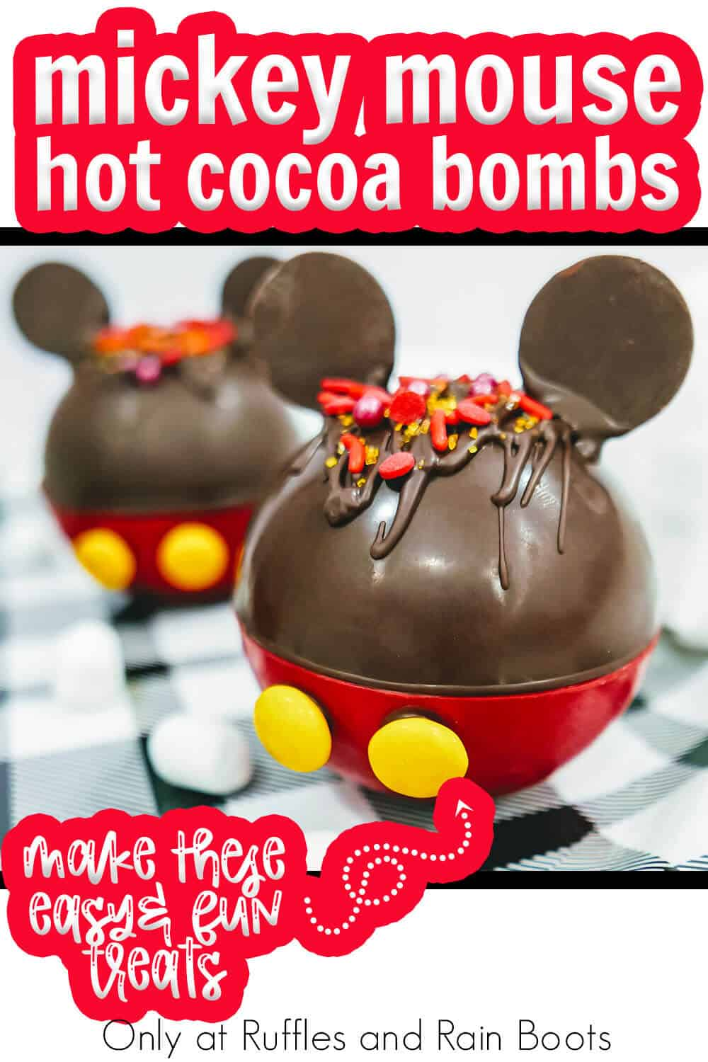 mickey ears hot chocolate bombs with text which reads mickey mouse hot cocoa bombs make these easy & fun treats