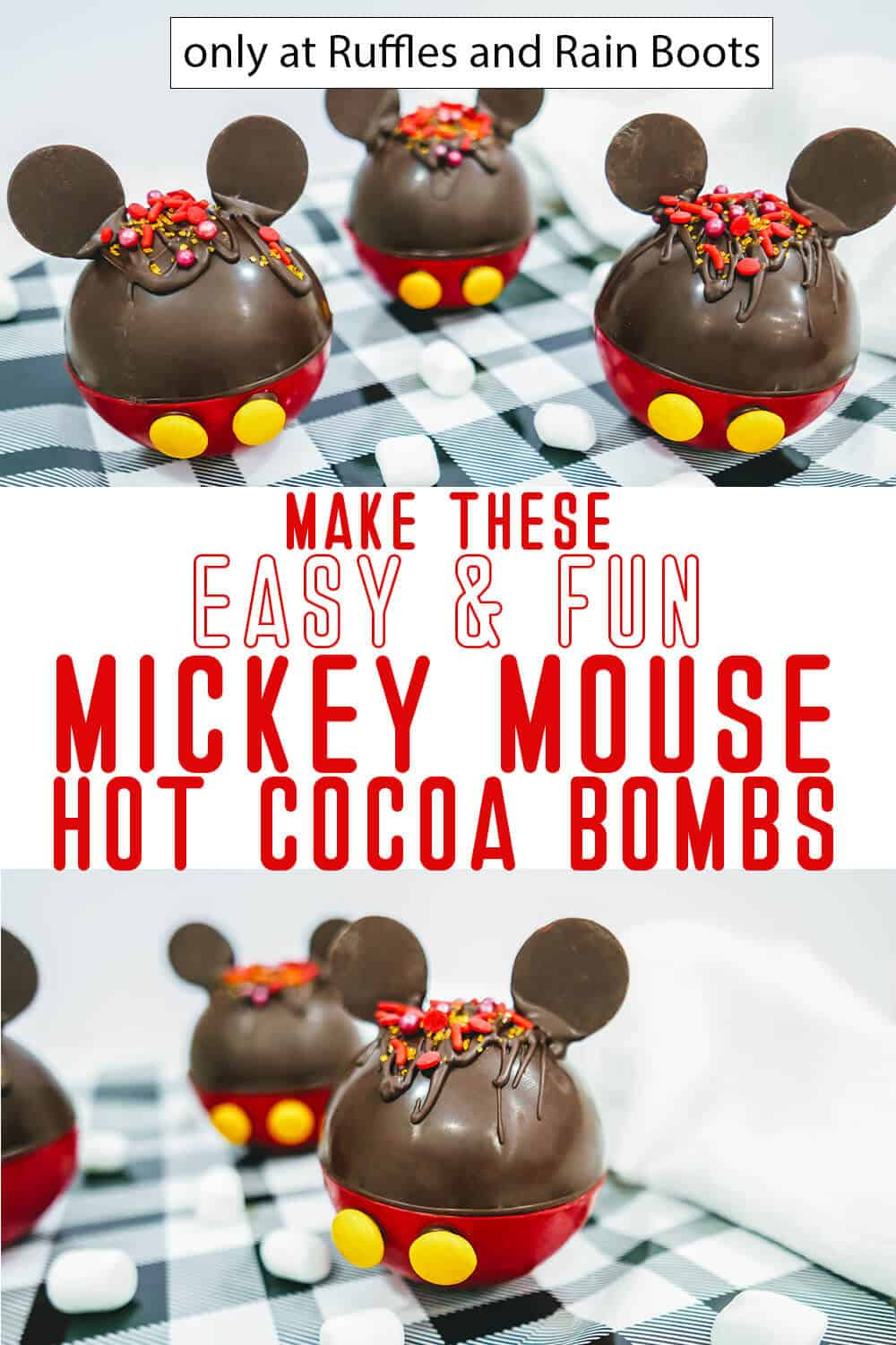 photo collage of DIY Mickey Mouse chocolate Bombs with text which reads make these easy & fun mickey mouse hot cocoa bombs