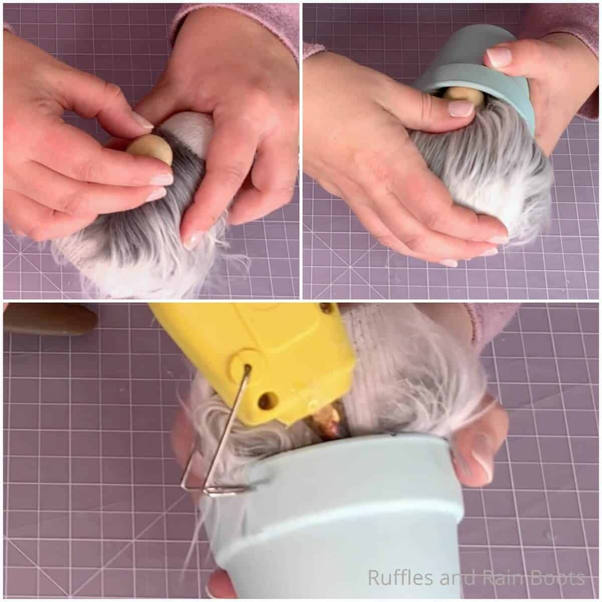 photo collage tutorial of how to make a gnome with a pot hat