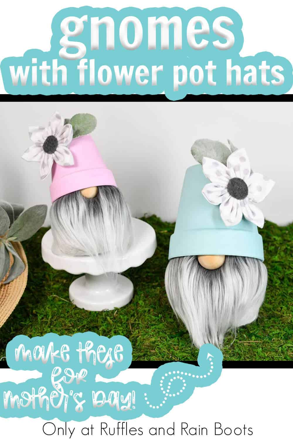 flower pot hat sock gnome diy for mothers day with text which reads gnomes with flower pot hats make these for mothers day