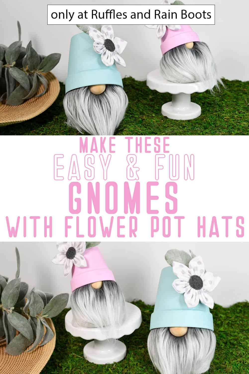 photo collage of diy sock gnome with a flower pot hat with text which reads make these easy & fun gnomes with flower pot hats