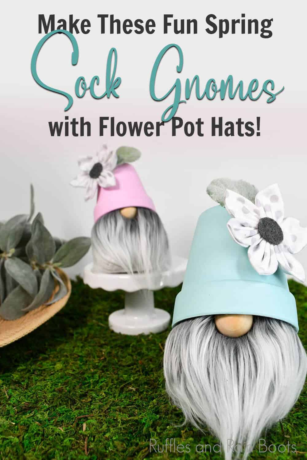 diy gardening gnome with text which reads make these fun spring sock gnomes with flower pot hats