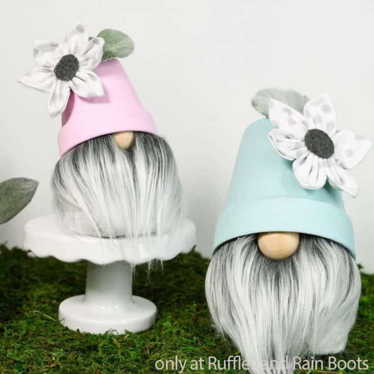diy gardening gnome with a flower pot hat