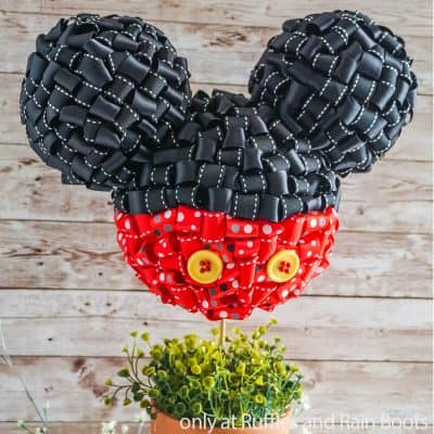 Make This Fun Looped Ribbon Mickey Topiary for Disney DIY Decor!