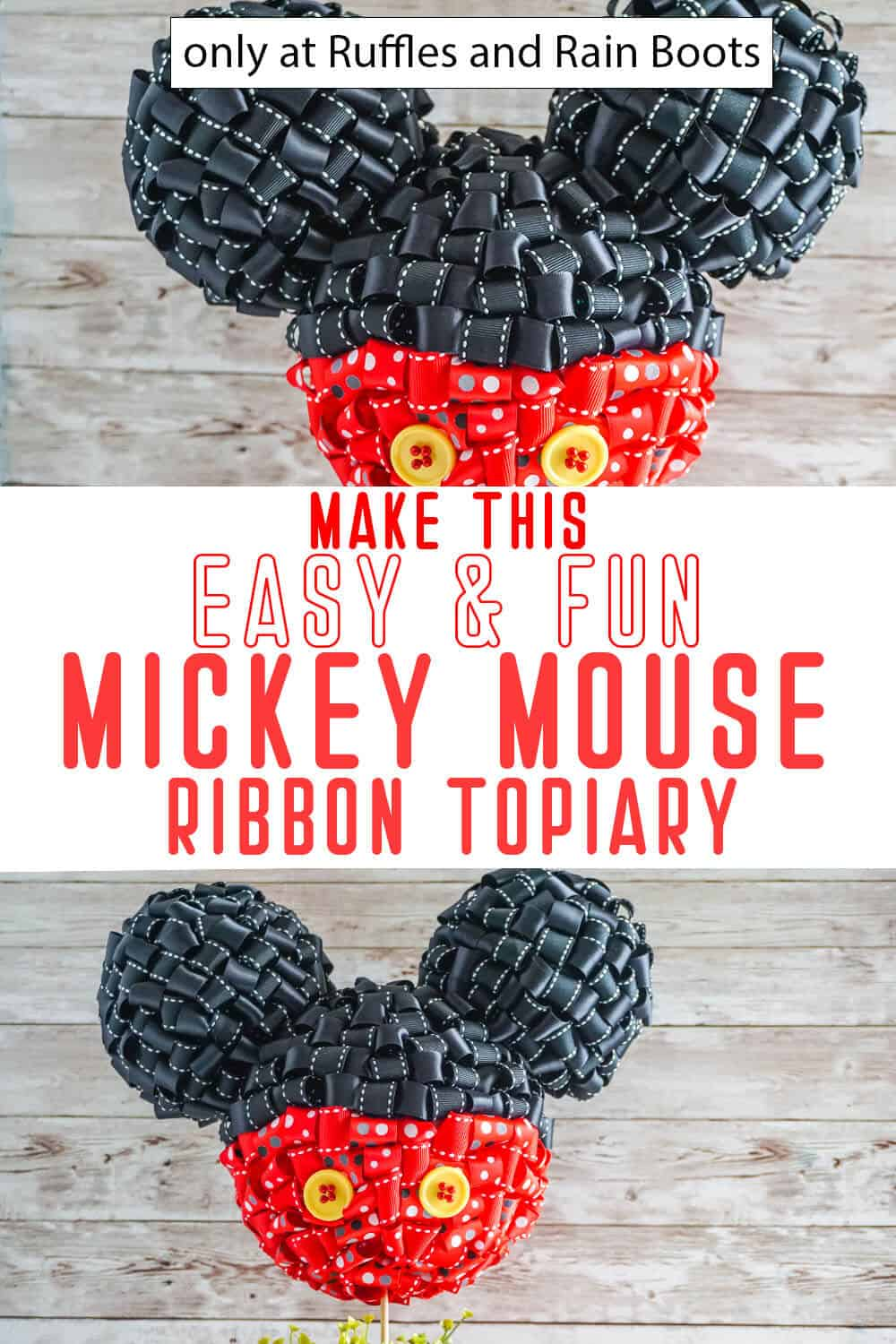 photo collage of looped ribbon mickey topiary with text which reads make this easy & fun mickey mouse ribbon topiary