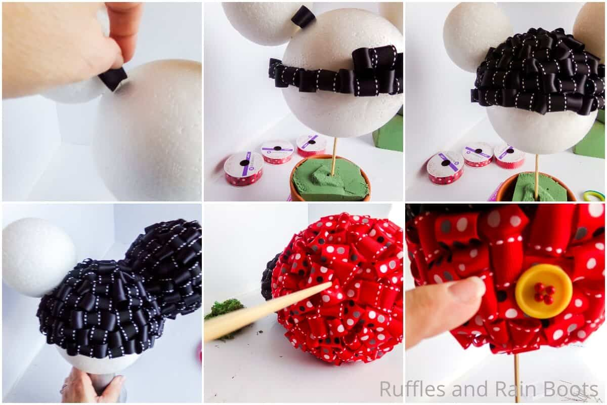 photo collage tutorial of how to make a mickey topiary