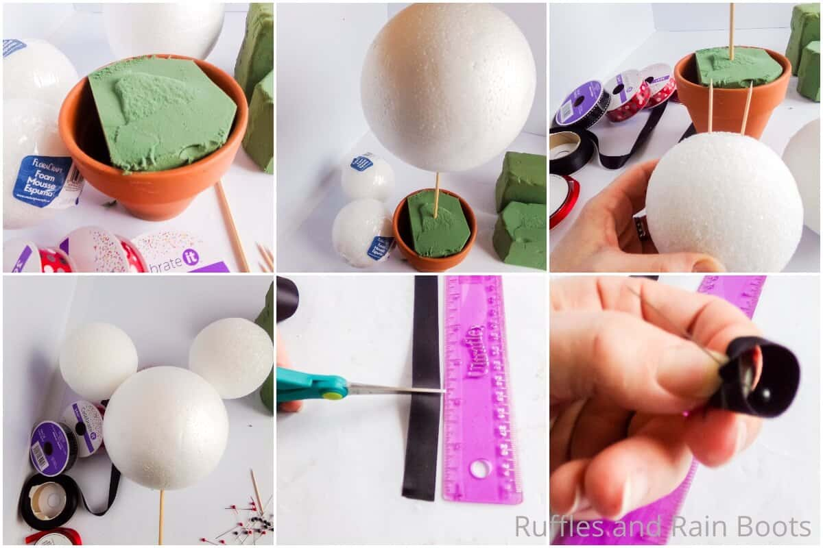 photo collage tutorial of how to make a mickey mouse topiary