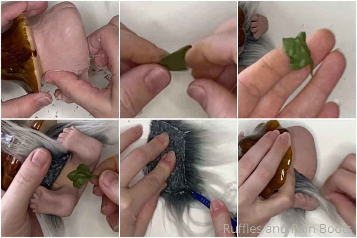 photo collage tutorial of how to make a polymer clay mushroom gnome
