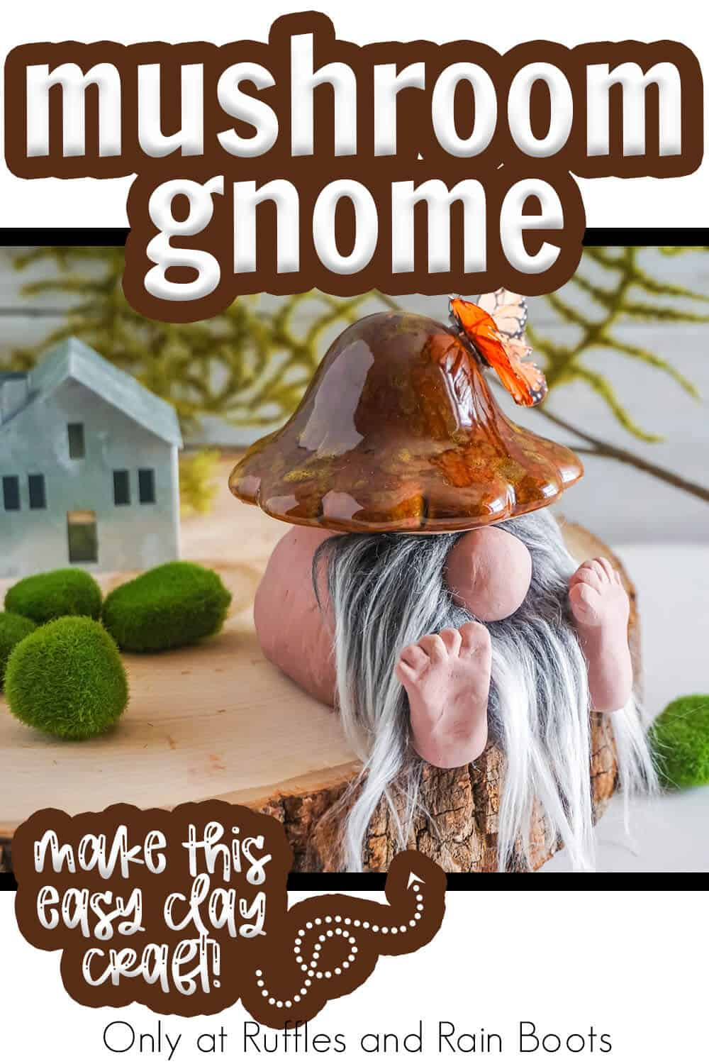dollar store mushroom into a gnome mushroom with text which reads mushroom gnome make this easy clay craft