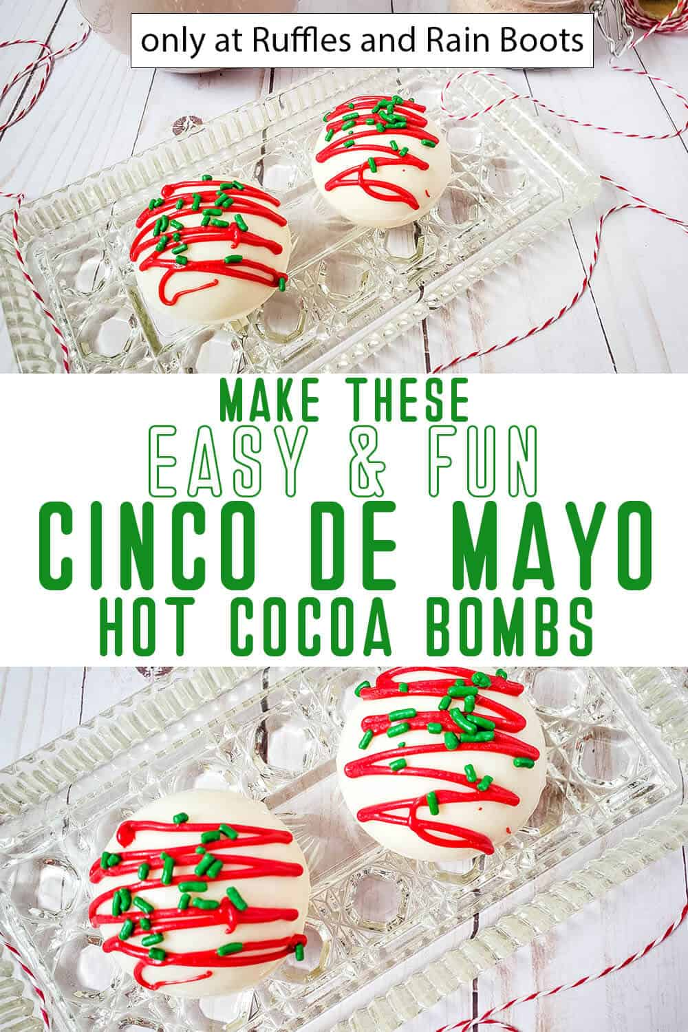 photo collage of cinco de mayo hot chocolate bombs with text which reads make these easy & fun cinco de mayo hot cocoa bombs