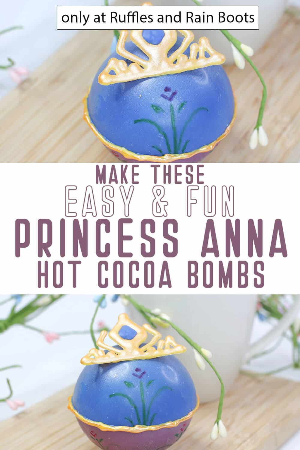 photo collage of disney princess inspired hot cocoa bombs with text which reads make these easy & fun princess anna hot cocoa bombs