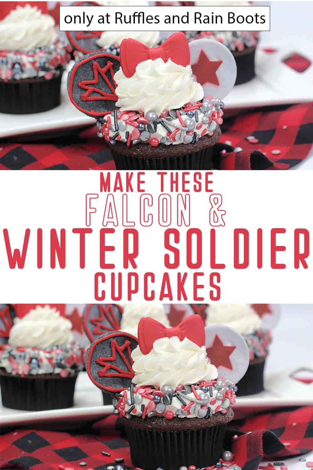 photo collage of marvel falcon and winter soldier cupcakes recipe with text which reads make these falcon & winter soldier cupcakes