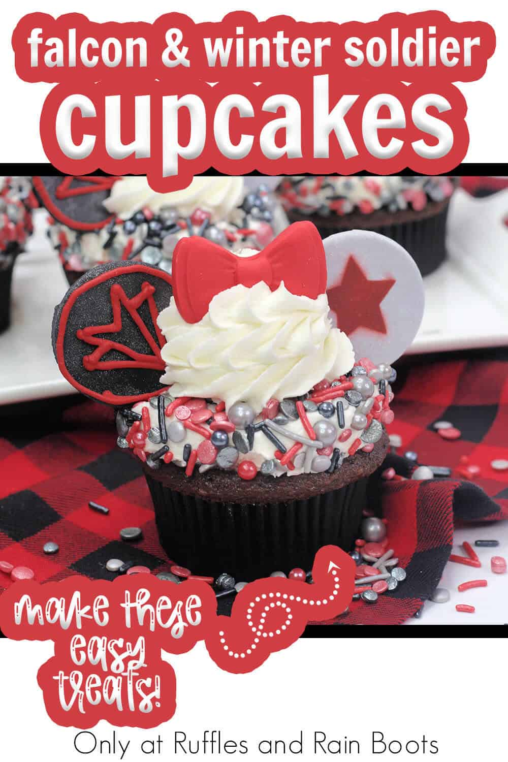 falcon and winter soldier cupcakes for a super hero party with text which reads falcon & winter soldier cupcakes make these easy treats