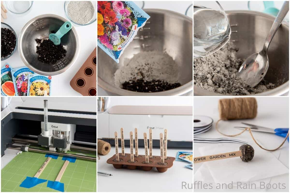 photo collage tutorial of how to make seed pops with cricut or silhouette