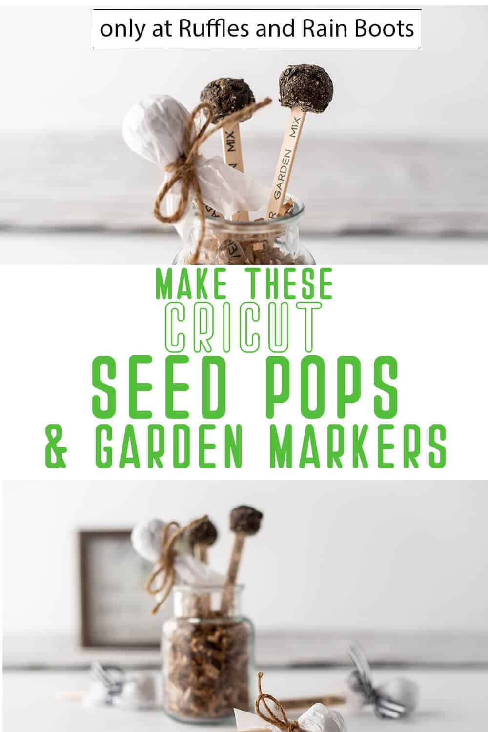 photo collage of diy Cricut seed pops and garden markers spring craft with text which reads make these cricut seed pops and garden markers