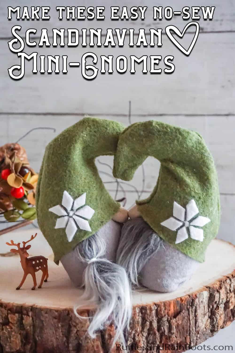 scandinavian style gnome pattern with text which reads make these easy no-sew scandinavian mini gnomes