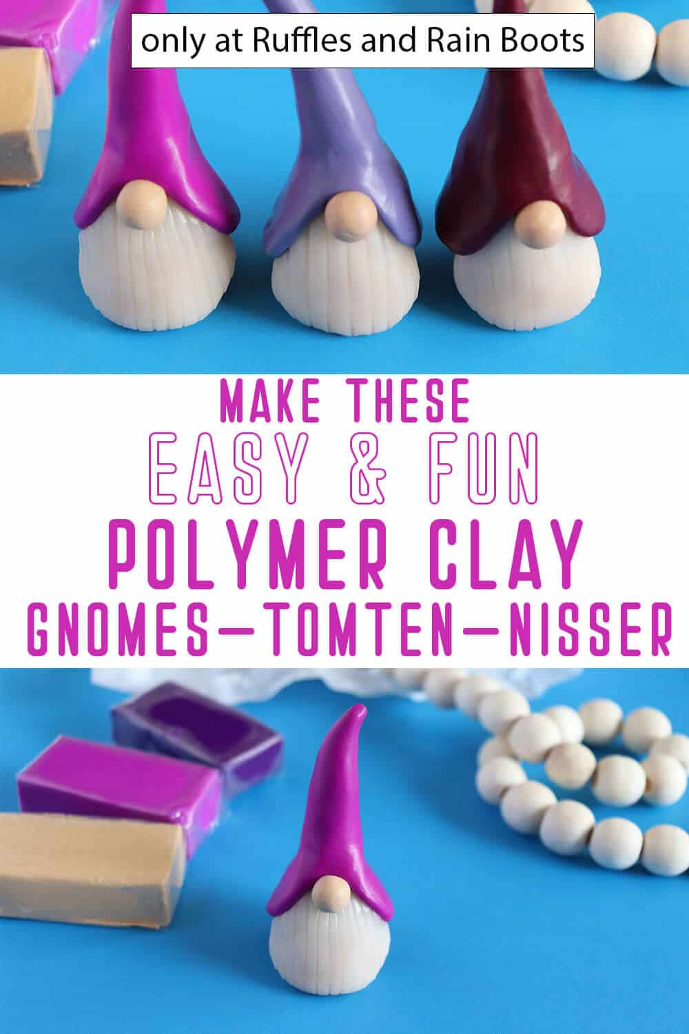 photo collage of easy diy clay gnomes with text which reads make these easy & fun polymer clay gnomes tomten nisser