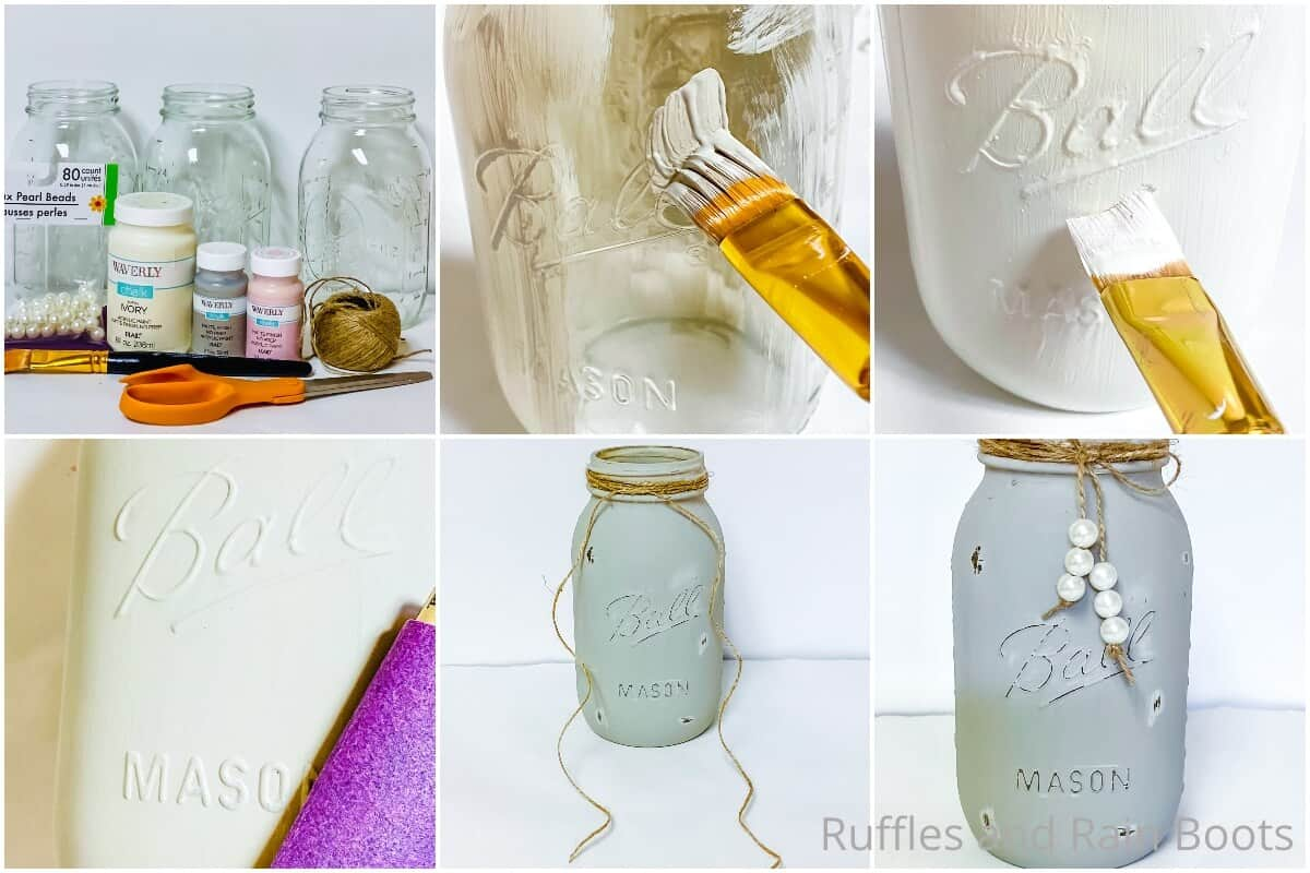 photo collage tutorial of how to make pastel painted jars