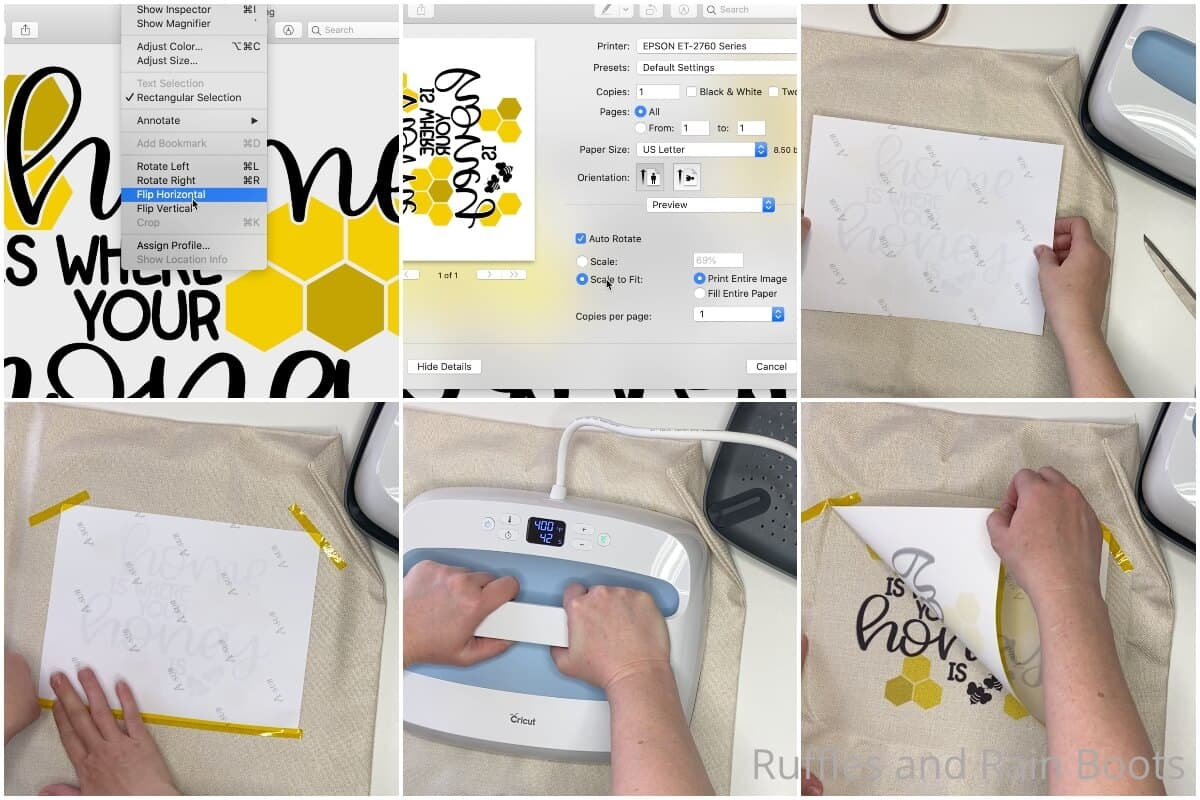 photo collage tutorial of how to make a sublimation pillow case diy farmhouse bee pillow