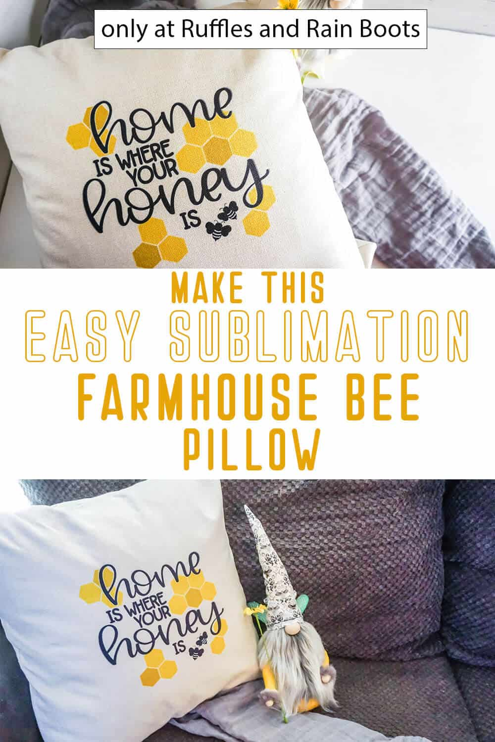 photo collage of sublimation tutorial for a pillow farmhouse bee pillow with text which reads make this easy sublimation farmhouse bee pillow